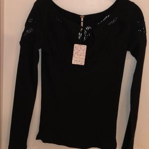 long sleeve black free people sweater
